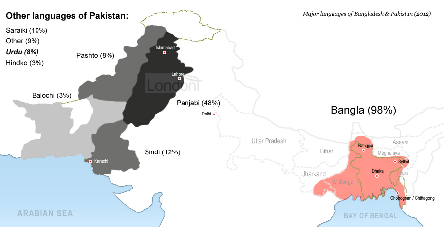Major languages of Bangldesh and Pakistan (2012)