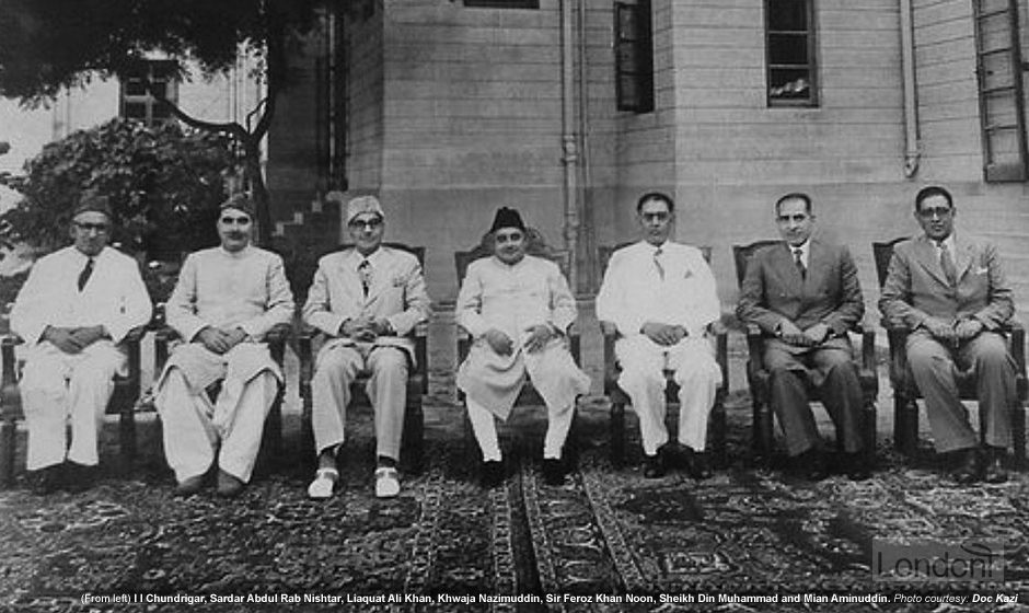 Pakistan Governor-General Khwaja Nazimuddin with Prime Minister Liaquat Ali Khan and governors of different provinces