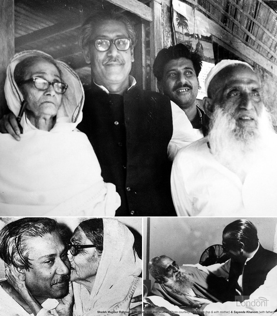 Sheikh Mujibur Rahman with his dad Sheikh Lutfar Rahman and mother Sayera Begum