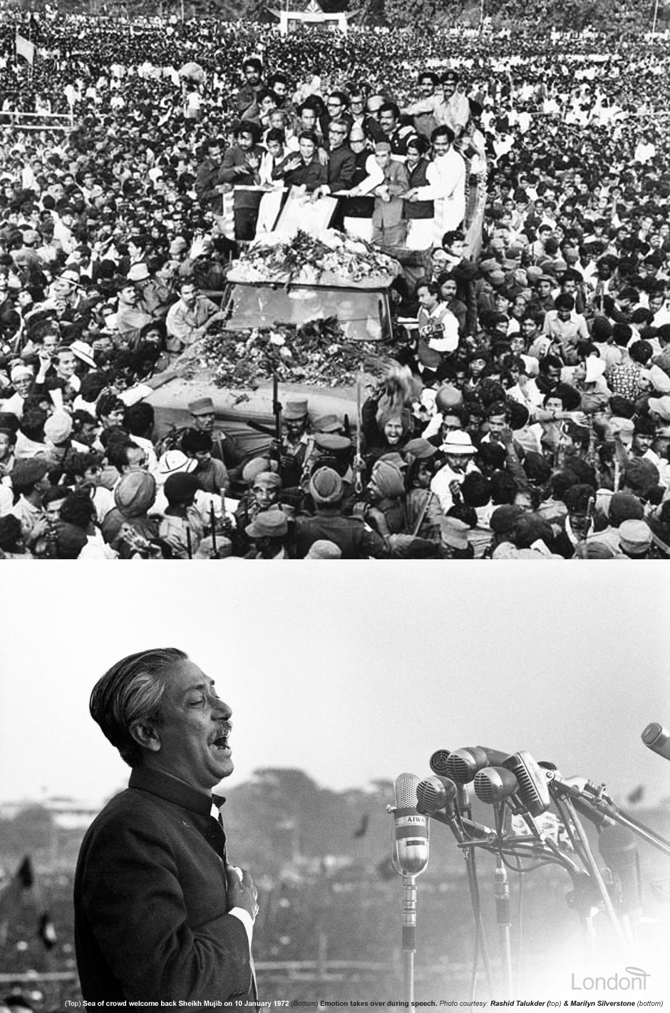Return of Sheikh Mujibur Rahman from West Pakistani prison to Dhaka on 10 January 1972