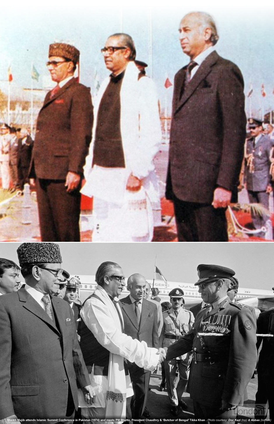 Sheikh Mujibur Rahman with Zulfikar Ali Bhutto in a state visit to Pakistan in 1974