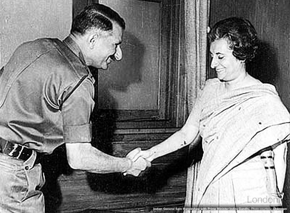 Indian General Sam Manekshaw with Prime Minister Indira Gandhi