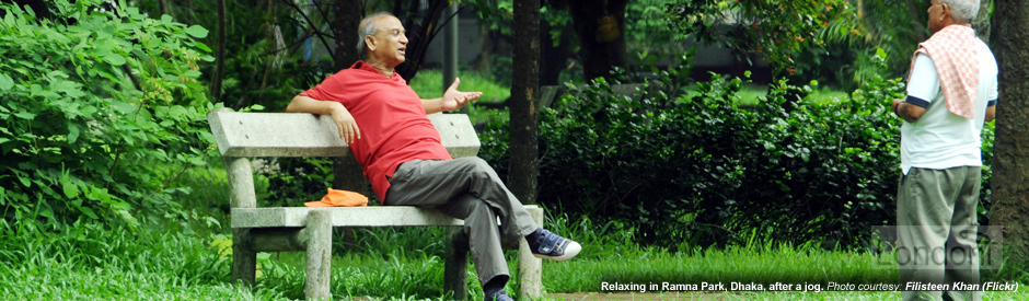 Relaxing in Ramna Park, Dhaka, after a jog